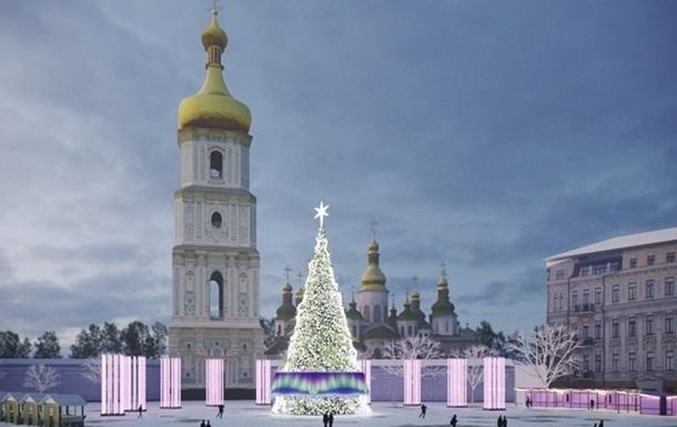 В Киеве начали монтировать главную елку страну